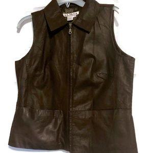 AMI Medium Zipper Brown Leather Motorcycle Vest